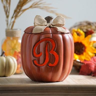 pre lit monogram b pumpkin with burlap bow - Harvest Decor