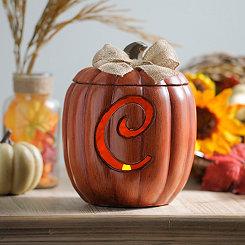 Pre-Lit Monogram C Pumpkin with Burlap Bow