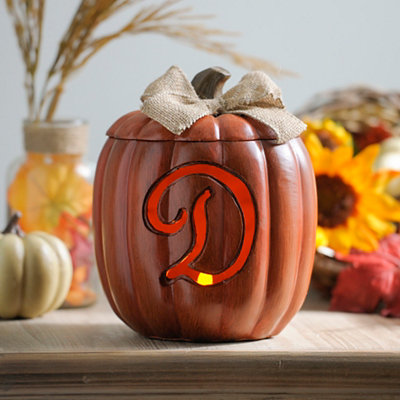 Pre-Lit Monogram D Pumpkin with Burlap Bow