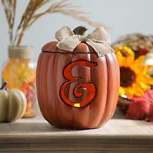 Pre-Lit Monogram E Pumpkin with Burlap Bow