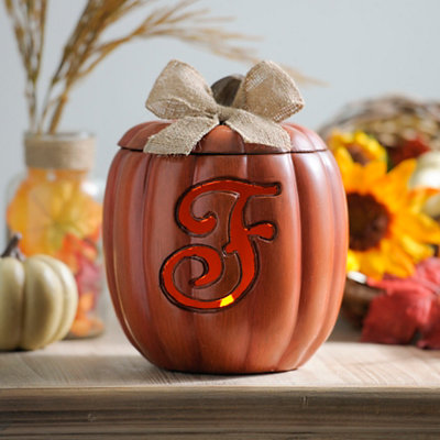 Pre-Lit Monogram F Pumpkin with Burlap Bow