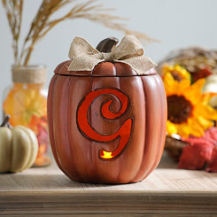 Pre-Lit Monogram G Pumpkin with Burlap Bow