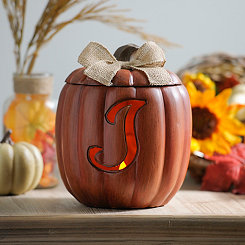 Pre-Lit Monogram J Pumpkin with Burlap Bow