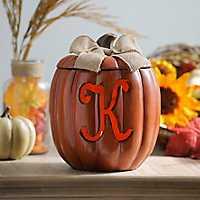Pre-Lit Monogram K Pumpkin with Burlap Bow