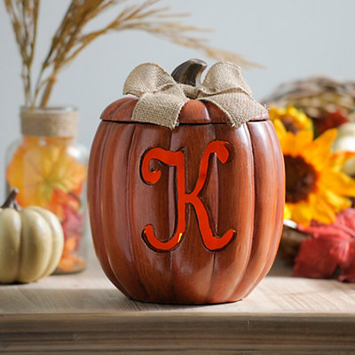 Pre-Lit Monogram K Pumpkin with Burlap Bow