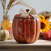 Pre-Lit Monogram M Pumpkin with Burlap Bow