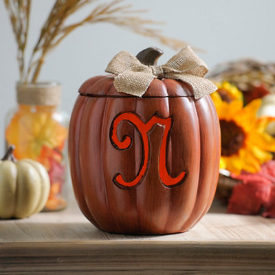 Pre-Lit Monogram N Pumpkin with Burlap Bow