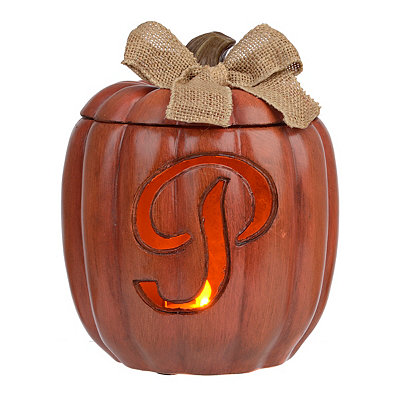 Pre-Lit Monogram P Pumpkin with Burlap Bow