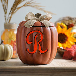 Pre-Lit Monogram R Pumpkin with Burlap Bow
