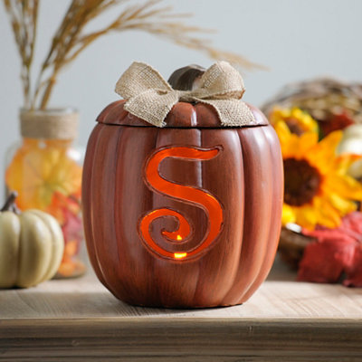 Pre-Lit Monogram S Pumpkin with Burlap Bow