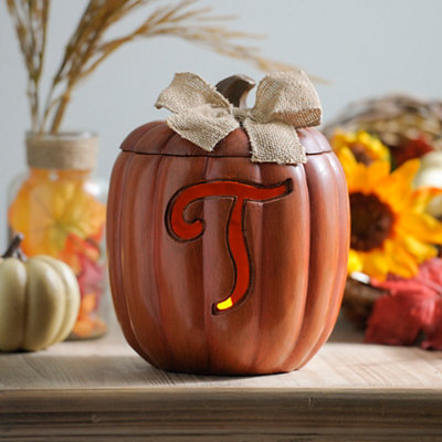 Pre-Lit Monogram T Pumpkin with Burlap Bow