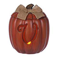 Pre-Lit Monogram V Pumpkin with Burlap Bow