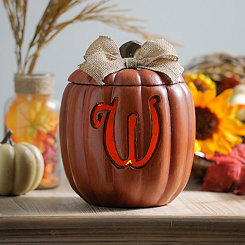 Pre-Lit Monogram W Pumpkin with Burlap Bow