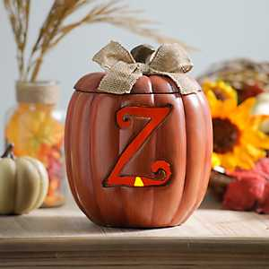 Pre-Lit Monogram Z Pumpkin with Burlap Bow