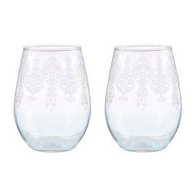 Blue Lace Stemless Wine Glasses, Set of 2