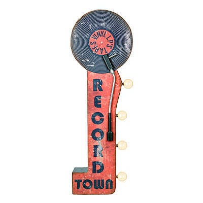 LED Record Town Sign Metal Plaque