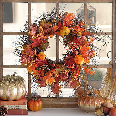 Velvet Pumpkin Wreath