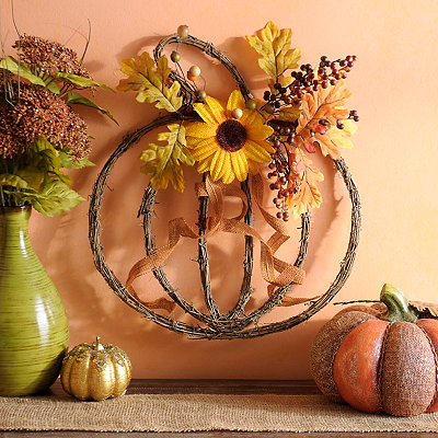 Rattan Pumpkin Plaque with Sunflowers