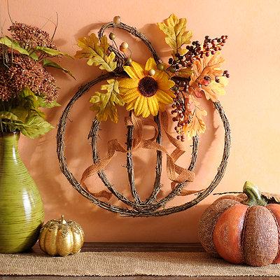 Rattan Pumpkin Plaque with Sunflowers
