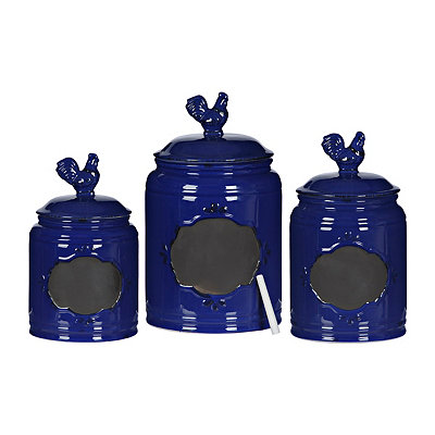 Cobalt Rooster Canisters, Set of 3