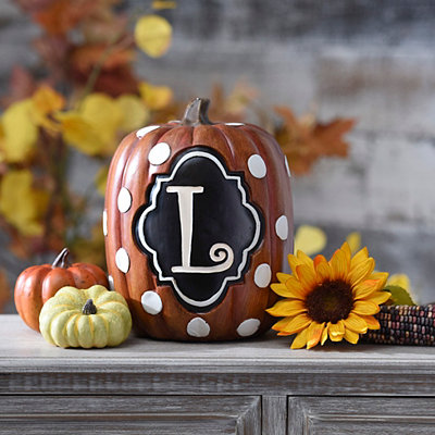 Polka Dot Mongoram L Pumpkin