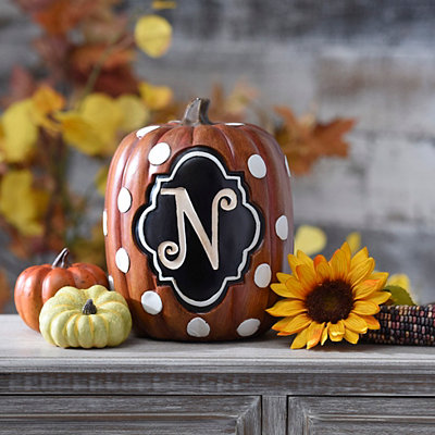 Polka Dot Mongoram N Pumpkin