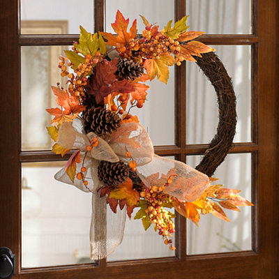 Rustic Harvest Pine Cone and Leaf Wreath