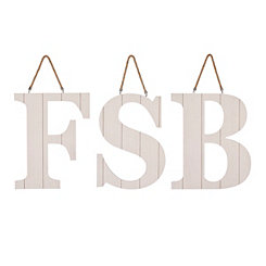 Whitewashed Beadboard Monogram Wooden Plaques