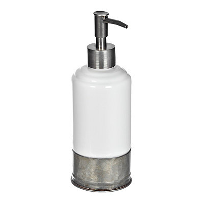 White Ceramic and Galvanized Metal Soap Pump