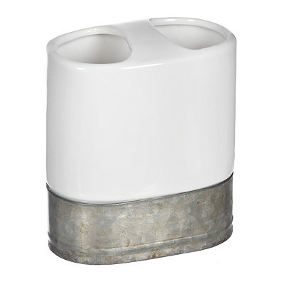Ceramic and Galvanized Metal Toothbrush Holder