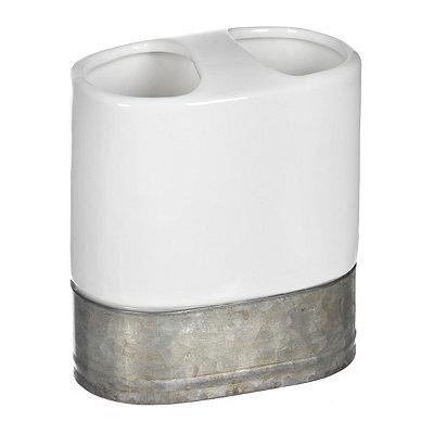 Ceramic and Galvanized Metal Toothbrush Holder