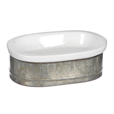White Ceramic and Galvanized Metal Soap Dish