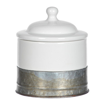 White Ceramic and Galvanized Metal Cotton Jar