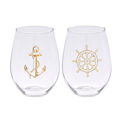 Gold Nautical Stemless Wine Glasses, Set of 2