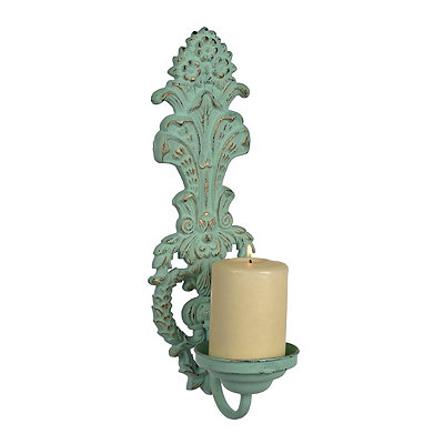 Turquoise Vintage Scroll Cast Iron Sconce