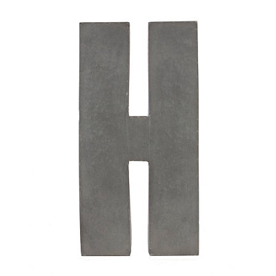 Galvanized H Monogram Metal Plaque