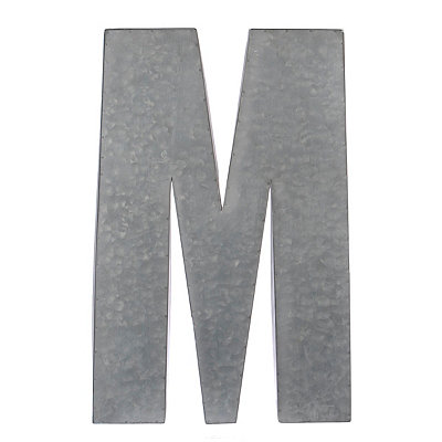 Monogram M Galvanized Metal Plaque