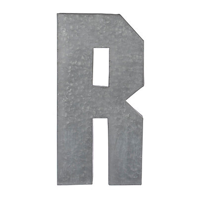 Monogram R Galvanized Metal Plaque