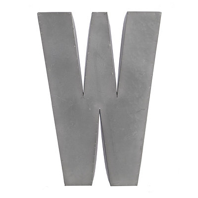 Galvanized W Monogram Metal Plaque