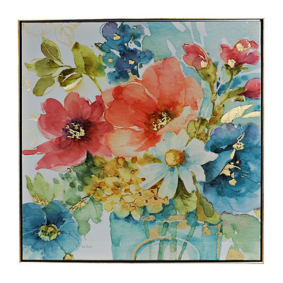 Spring Watercolor Florals Framed Canvas Art Print