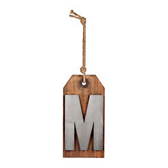 Wood and Metal Monogram M Luggage Tag Plaque