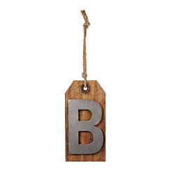 Wood and Metal Monogram B Luggage Tag Plaque