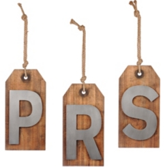 Wood and Metal Monogram Luggage Tag Plaques