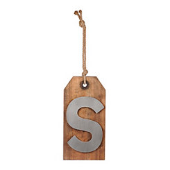 Wood and Metal Monogram S Luggage Tag Plaque