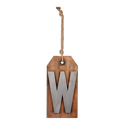 Wood and Metal Monogram W Luggage Tag Plaque