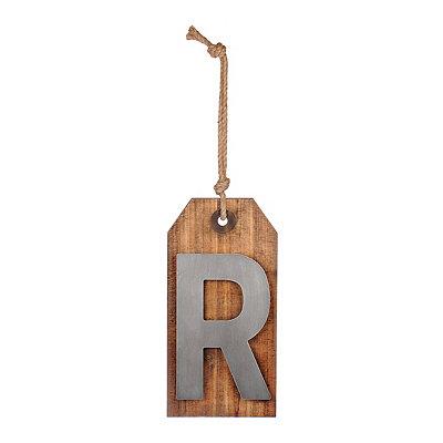 Wood and Metal Monogram R Luggage Tag Plaque
