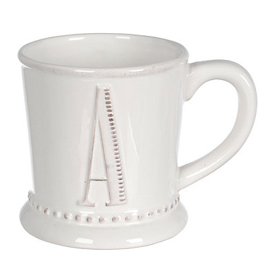 White Embossed Dot Monogram A Mug