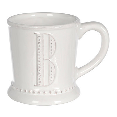 White Embossed Dot Monogram B Mug