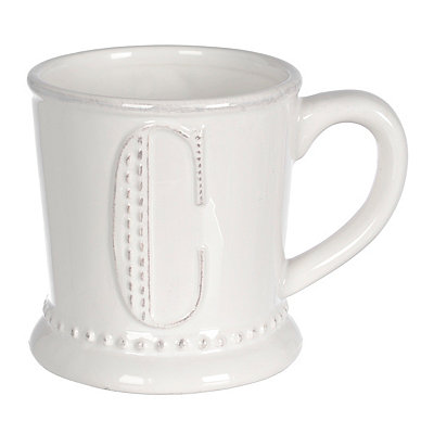 White Embossed Dot Monogram C Mug