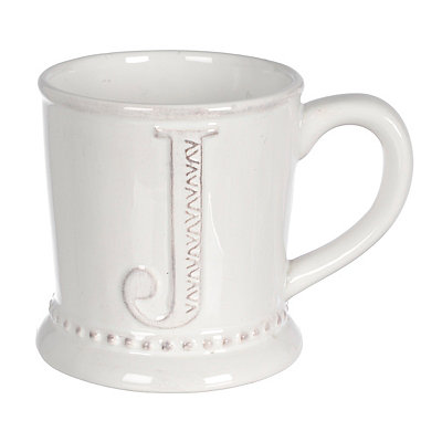 White Embossed Dot Monogram J Mug